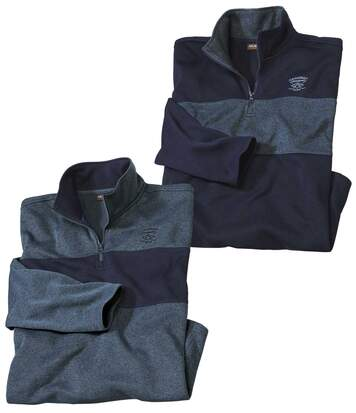 Pack of 2 Men's Striped Brushed Fleece Jumpers - Navy Blue