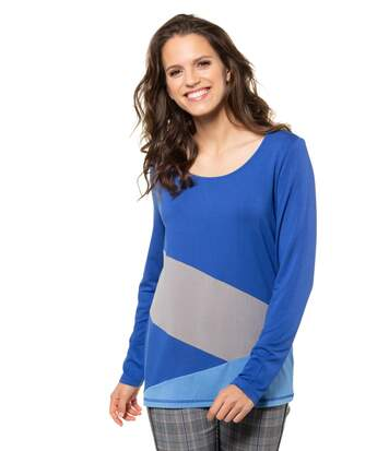 Gina Laura Shirt Colorblocking Manches longues Deep Sea NEW, Col rond, Trendy