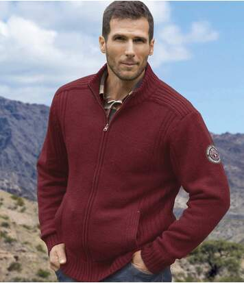 Men's Burgundy Fleece Jasper Jacket - Knitted Lined
