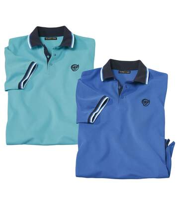 Pack of 2 Men's Summer Polo Shirts - Turquoise Blue
