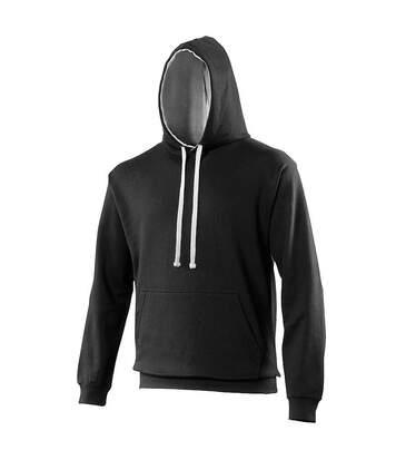 Awdis Varsity Hooded Sweatshirt / Hoodie (Heather Grey/ Sapphire Blue) - UTRW165