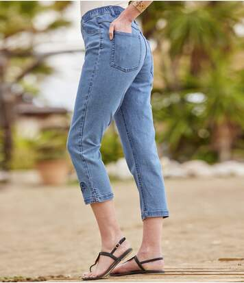 Bestickte 7/8-Tregging aus Stretch-Denim