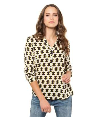 Gina Laura Blouse Graphic Pattern Brimstring Blue NEW