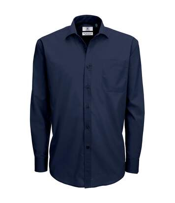 B&C Mens Smart Long Sleeve Poplin Shirt / Mens Shirts (Navy Blue) - UTBC111