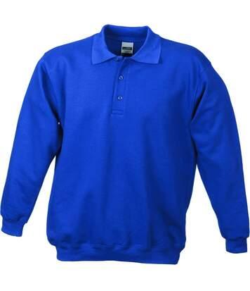 Sweat-shirt col polo - homme - JN041 - bleu roi