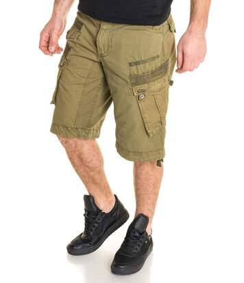 Bermuda homme kaki avec ceinture