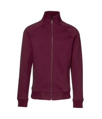 ID Mens Fitted Full Zip Fleece Jacket (Bordeaux) - UTID389