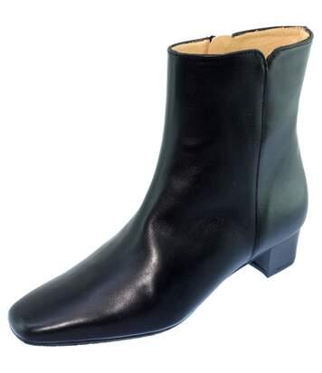 Roissy Cuir Alarm Free Les Escarpins d'Hotesses by UNIFORM-SHOES - Bottine doublée cuir carrée boots confort uniforme Femme cuir noir