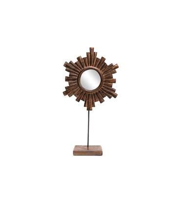 Miroir en bois ethnique Kaya - L. 27 x H. 46 cm - Marron