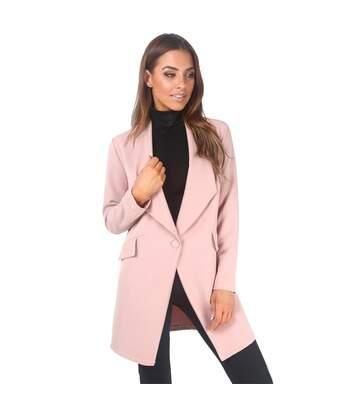 Krisp Womens/Ladies Oversized One Button Longline Blazer (Pink) - UTKP233