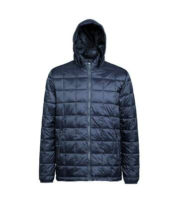 2786 Mens Box Quilt Hooded Zip Up Jacket (Steel) - UTRW5263