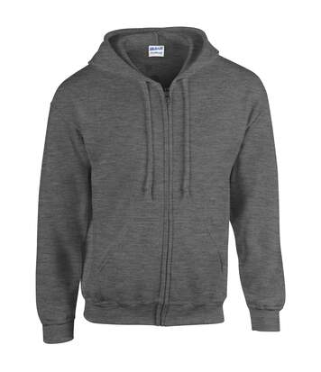 Gildan Heavy Blend Unisex Adult Full Zip Hooded Sweatshirt Top (Dark Heather) - UTBC471