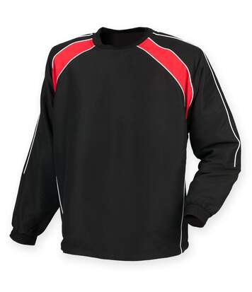 Finden & Hales Mens Long Sleeve Sports Warm-up Drill Top (Black/ Red/ White) - UTRW4159