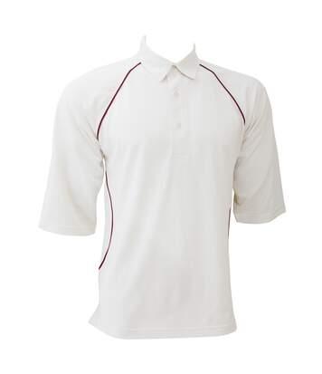 Finden & Hales - T-Shirt Cricket - Homme (Blanc/Bordeaux) - UTRW401