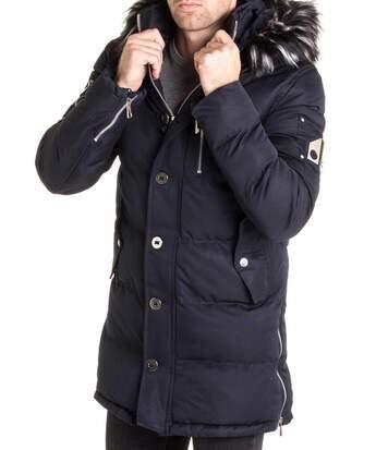Manteau bleu hiver avec capuche fausse fourrure noir