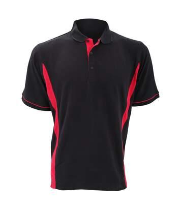 Kustom Kit Scottsdale Mens Short Sleeve Polo Shirt (Black/Red) - UTBC618
