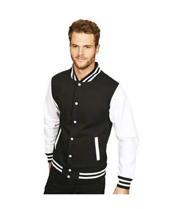 Casual Classic Mens Varsity Jacket (Black/White) - UTAB454