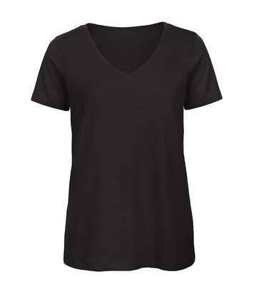 B&C Womens/Ladies Favourite Organic Cotton V-Neck T-Shirt (Black) - UTBC3642