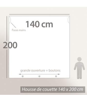 Parure de lit 140x200 cm 100% coton bio AIR Beige 2 pièces