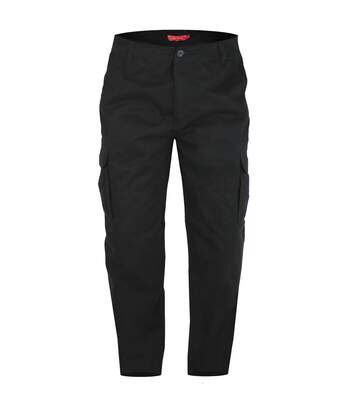 Duke Mens Robert-D555 Peached And Washed Cotton Cargo Trousers (Black) - UTDC227