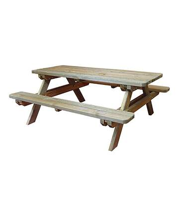 Table de pique-nique rectangulaire en bois 4/6 places Rambouillet
