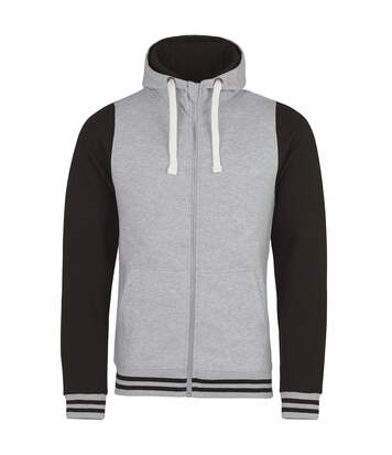 AWDis Just Hoods Adults Unisex Urban Varsity Full Zip Hoodie (Heather Grey/Jet Black) - UTRW3938
