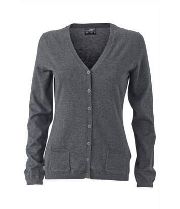 Pull boutonné cardigan cachemire - FEMME - JN667 - gris anthracite