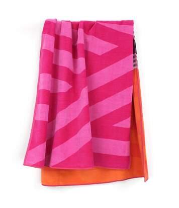 Drap de plage 100x180 cm LINES Orange/Rose