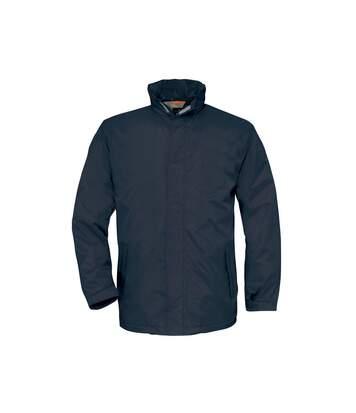 B&C Mens Ocean Shore Waterproof Hooded Fleece Lined Jacket (Navy) - UTRW3518