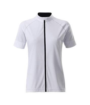 James And Nicholson - T-Shirt Zippé - Femme (Blanc / noir) - UTFU166