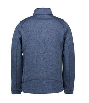 ID Mens Zip N Mix Full Zip Melange Fleece (Navy Melange) - UTID427