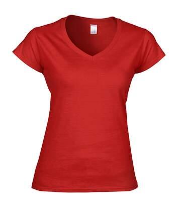 Gildan - T-Shirt À Manches Courtes Et Col En V - Femme (Rouge) - UTBC491