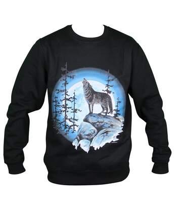 Sweat-shirt motif loups - 6516 - homme - noir