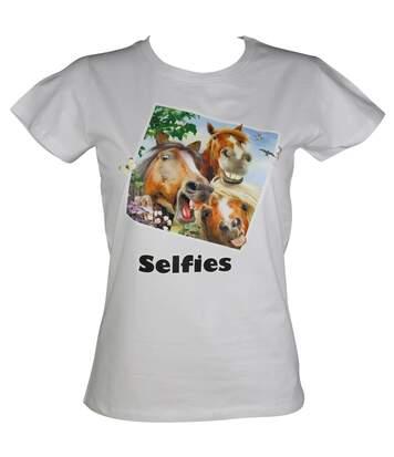 T-shirt femme manches courtes - chevaux selfies 2372 - blanc