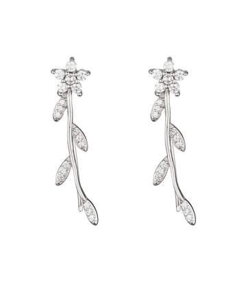 Boucles d'oreilles argent et oxydes de zirconium Fleurs scintillantes