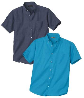 Pack of 2 Men's Checked Shirts - Navy Turquoise