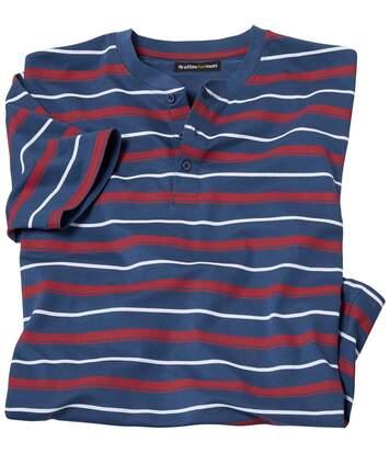 Marynarski t-shirt z dekoltem z guzikami
