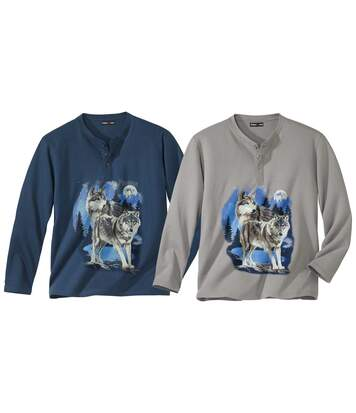 Pack of 2 Men's Wolf Print Long-Sleeved Tops - Blue Grey