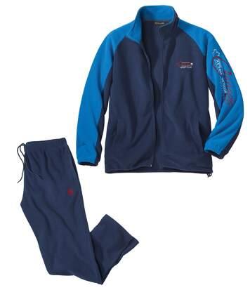 Men's Navy Blue Sporty Polar-Fleece Tracksuit