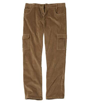 Men's Beige Corduroy Cargo Trousers