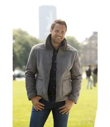 Men's Grey Aviator Style Jacket -Faux Suede