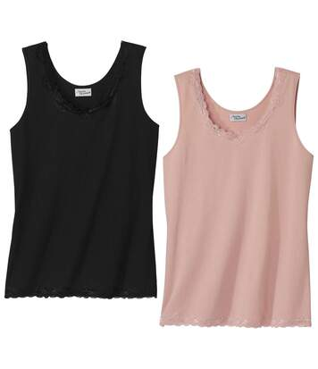 Pack of 2 Women's Stretch Lace Vest Tops – Black Pink