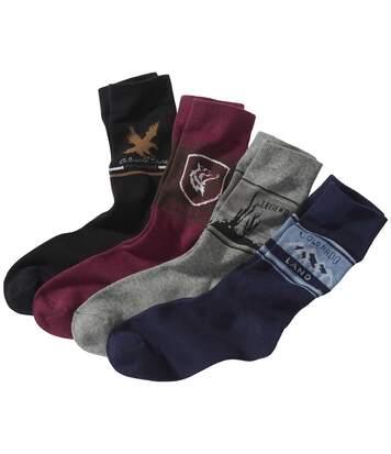 Pack of 4 Men's Pairs of Wild West Socks - Black Burgundy Navy Grey