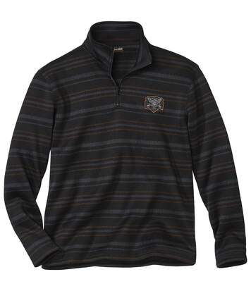 Men's Striped Brushed Fleece Jumper