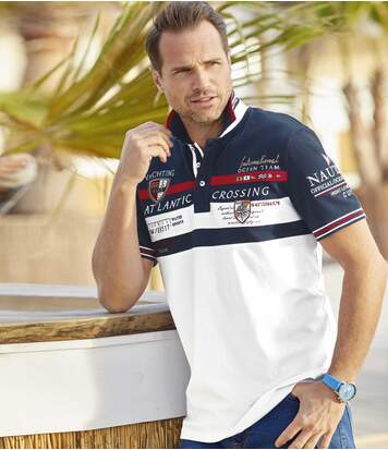Men's Piqué Cotton Polo Shirt - White Navy