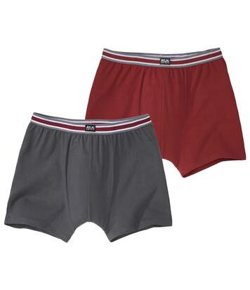 Pack of 2 Men's Stretch Comfort Boxers - Grey Burgundy