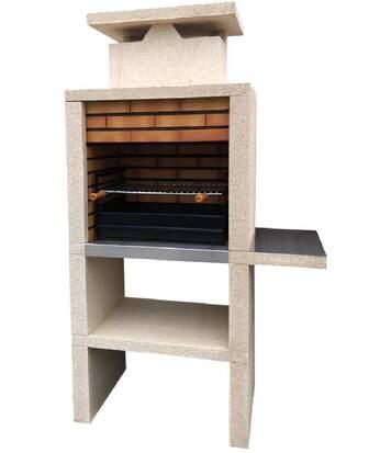 Barbecue pierre et brique avec cheminée + tablette Tavira - revêtement inox