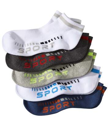 Pack of 5 Pairs of Sporty Men's Ankle Socks