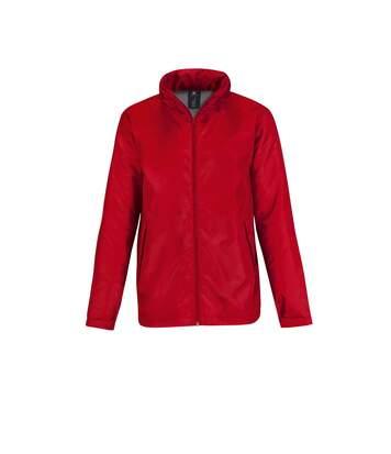 B&C Mens Multi Active Hooded Fleece Lined Jacket (Red/ Warm Grey) - UTRW4830