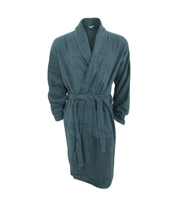 Mens Plain Cotton Towelling Robe/Dressing Gown (Green) - UTN868
